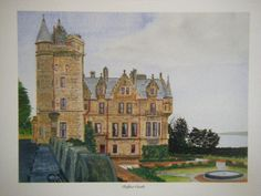 """Belfast Castle"" Ronnie McClune Carrickfergus, United Kingdom Built in the 1860s, Belfast Castle stands on the slopes of the imposing Cavehill on the northern outskirts of Belfast, Northern Ireland.  With and image size of 7.5ins x 5.5ins this is a print taken from a fine original watercolour by Northern Ireland artist Ronnie McClune."