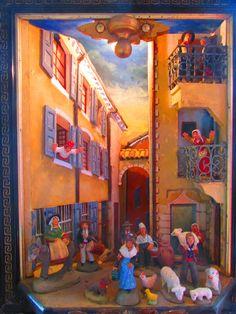 Placette animée Rue Peuzin à SERRES avec des santons. Crèche de Christian Garoute.