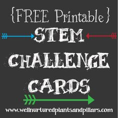Well Nurtured Plants and Pillars has a post on STEM that includes FREE STEM printable cards and activities. There are numerous activities included and instructions and the pack includes 3 sheets of challenge cards (one is blank for you to write your own challenges) and one challenge record sheet for...