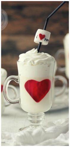 Kanela y Limón: Panna Cotta with white chocolate hearts gelatin / Valentine White Chocolate Panna Cotta, Hot Chocolate, Chocolate Hearts, Valentines Day Food, Happy Valentines Day, Valentine Desserts, Mousse, Chocolates, Gelatin Recipes