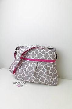 Stella Diaper Bag Set READY to SHIP MediumQuatrefoil by marandalee grey hot pink quatrefoil baby girl bag