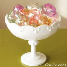 Craftiments:  Glass Easter egg ornaments in a milk glass bowl