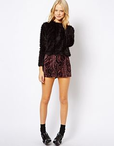 Image 1 of ASOS Velvet Shorts in Paisley Print