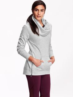 Womens Fleece Cowl-Neck Tunic| So comfy and looks great with leggings!