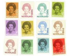 Stamps of the Dutch Queen Beatrix [1981]. Design by Peter Struycken. Letters and numbers by Gerard Unger.