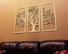 3D Tree of Life - 3 Panel Wood Wall Art - Beautiful Living Room Decor by SkylineWorkshop