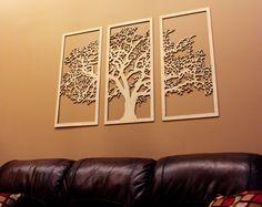 Tree of Life - 3 Panel Tree - Wood Wall Art - Wall Hanging - Living Room - Large Wall Art Decor Wall Decor Design, Wooden Wall Decor, Wooden Walls, Wall Art Designs, Metal Walls, Wall Art Decor, Asian Wall Decor, Wall Wood, 3d Wall