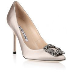 Manolo Blahnik Hangisi satin pump silver grey ($965) ❤ liked on Polyvore featuring shoes, pumps, silver, pointed toe high heel pumps, satin pumps, silver high heel pumps, silver pumps and pointy-toe pumps