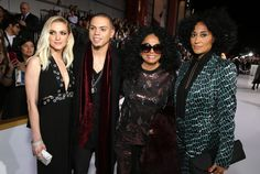 Ashlee Simpson, Evan Ross, Diana Ross and Tracee Ellis Ross arrive at the premiere of Lionsgate's 'The Hunger Games: Mockingjay - Part 1' at Nokia Theatre L.A. Live on November 17, 2014 in Los Angeles.
