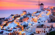 Download wallpapers Santorini, Thira island, Aegean Sea, Greece, romantic place, sunset, evening, white city
