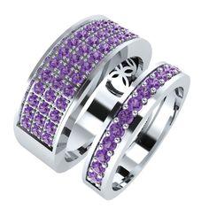 2.40 ct tw Round Amethyst 14K White Gold Mens Womens Wedding Band Ring Set #Silverdew #Mens