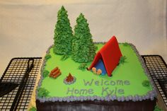 Happy Camper Cake Camper Cakes, Happy Campers, Cake Decorating, Party Ideas, Camping, Stone, Desserts, Campsite, Tailgate Desserts