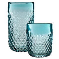 Diamond-Cut Embossed Drinkware in Aqua