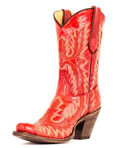 Women's Red Fancy Stitch Boot - - Corral Boots - love them! Red Cowgirl Boots, Red Boots, Cowgirl Style, Calf Boots, Western Boots, Shoe Boots, Dr. Martens, Corral Boots, Boating Outfit
