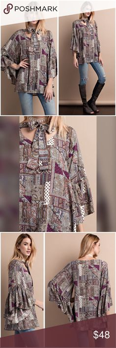 Tie front bell sleeve plum/olive/rust tunic! STATEMENT BELL SLEEVE PRINTED RAYON CHALLIS TIE FRONT BLOUSE WITH LOOSE FIT- ABSOLUTELY STUNNING! Tops Tunics