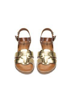 Cute sandals with a bit of metallic! Cute Sandals, Gold Sandals, Leather Sandals, Cinderella Shoes, Metallic Flats, Shoe Closet, Crazy Shoes, Gold Leather, Fashion Shoes