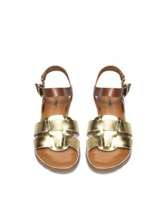brown + gold leather sandals <3