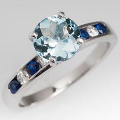 1 Carat Aquamarine Engagement Ring Sapphire & Diamond Band 14K