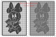 Filet crochet baby blanket with Disney baby Minnie with teddy bear free download