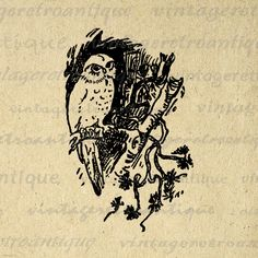 Digital Graphic Antique Owl Image Download Bird Illustration Printable Vintage Clip Art. Vintage high quality digital image download from antique artwork for printing, iron on transfers, pillows, tea towels, tote bags, and many other uses. Antique artwork. This digital graphic is high quality, high resolution at 8½ x 11 inches. Transparent background PNG version included.
