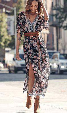 Floral Print Kimono Sleeve Maxi Dress | Express