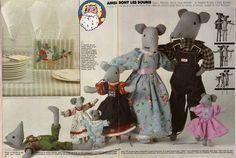 La famille Souris, patron poupée souris, 100 idées magazine patron gratuit , années 70