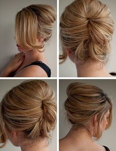Use a circle sponge - press to head - push in hair - pin in place inside.  Gorgeous!