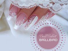 BrillBird - Another! French Nail Art, French Tip Nails, Bride Nails, Wedding Nails, Square Nail Designs, Nail Art Designs, Nail Atelier, Swirl Nail Art, Jolie Nail Art