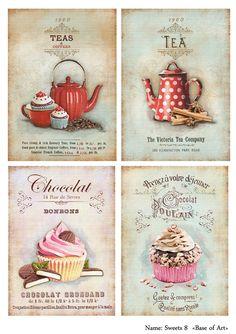 Cup of tea Decoupage Vintage, Vintage Diy, Shabby Vintage, Vintage Labels, Vintage Cards, Vintage Paper, Diy And Crafts, Arts And Crafts, Paper Crafts
