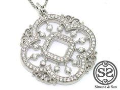 18ct White gold Diamond Clover Pendant