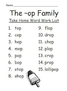 Fern Smith's The -op Family Spelling {Word Work} Lists & Tests