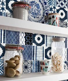 Shibori Patchwork Mix Wallpaper in Indigo Removable Vinyl Wallpaper - Peel & Stick - No Glue, No Mess Vinyl Wallpaper, Shibori, Peel And Stick Tile, Tile Decals, Smooth Walls, Splashback, Paint Finishes, Color Card, Storage Boxes