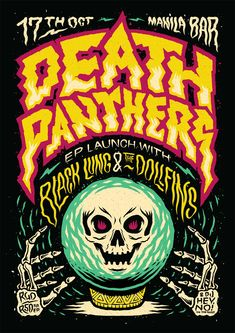 Ian Jepson — There's a new poster up for Death Panthers that I. Art And Illustration, Graphic Design Illustration, Illustrations Posters, Graphic Design Posters, Graphic Design Typography, Graphic Design Inspiration, Kunst Poster, Poster S, Rock Posters