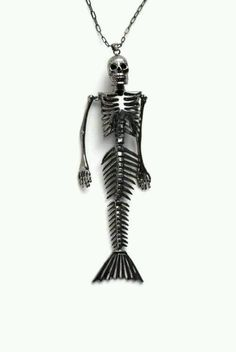 I need this in my life. Skeleton mermaid necklace