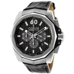Corum Men's Admiral's Cup AC-One Chrono Black Alligator Gunmetal Dial ($3,800) ❤ liked on Polyvore featuring men's fashion, men's jewelry, men's watches, black and watches