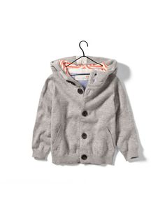 Jacket with Striped Hood and Elbow Patches- 12-18 Months