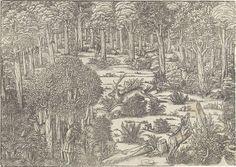Michael Ostendorfer   Jachtpartij in het woud van Lörs: linkerblok, Michael Ostendorfer, Anonymous, 1543  