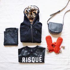 long coat w hood, leather shirt, coated jeggings: forever21 | studded bag: aeropostal | mittens: h&m