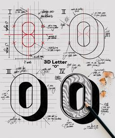 Artwork by - as requested showing another letter of the series - here the letter O ! there are so many ways of drawing a O. Lettering Tutorial, Hand Lettering Fonts, Graffiti Lettering, Types Of Lettering, Lettering Styles, Block Lettering, Typography Letters, Typography Logo, Lettering Design