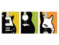 Guitar Prints, set of 3, 8 x 10 Art Prints - available in different colors and sizes