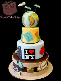 Around the World Birthday Cake by Pink Cake Box
