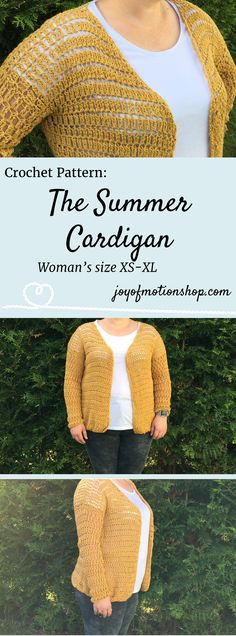 The Summer Cardgian - a crochet pattern. Woman's cardigan crochet pattern with skill level easy.. Make this fashionable crochet cardigan with your own crochet hook & yarn. Cardigan crochet pattern easy for her. | crochet pattern cardigan | woman's cardigan pattern | crochet pattern cardigan for her | easy cardigan crochet pattern | Click to purchase or repin to save it forever.
