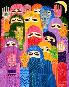 Hamsa is a hand shaped amulet used for protection by both Jewish and Muslim people. Kunst Online, Online Art, Hand Der Fatima, Buch Design, Arabic Art, Wow Art, Thinking Day, Hand Art, Art And Architecture