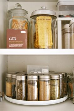 Keep spice jars on a lazy Susan so you can actually reach all of them. | 29 Things You Can Do Right Now To Get Your Kitchen Organized