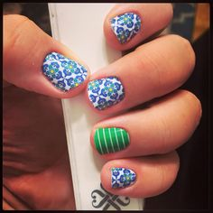 #Porcelain (this months #exclusive) and #Arcade  as an #accent nail #wraps by Jamberry Nails #nailwraps #nails #manicure #pedicure #nailwraps #modern #bluenails #greennails #whitenails buy 3 get 1 #FREE #nontoxic #glutenfree #veganfriendly #blue #white #green