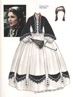 PD124 Elizabeth Taylor in Raintree County Paper Doll (y 4) by Brenda Sneathen Mattox