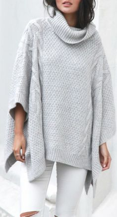 Cable knit poncho, distressed white skinny jeans