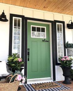 Ideas For Farmhouse Front Door Colors Bricks Exterior Door Colors, Front Door Paint Colors, Painted Front Doors, Exterior Doors, Black Trim Exterior House, Green Front Doors, Front Door Entrance, House Front Door, Front Door Decor