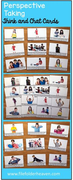"""These Perspective Taking """"Think and Chat"""" cards are designed to foster conversations about emotions, behavior, social skills and taking other people's perspective. This set includes 25 different """"Think and Chat"""" cards. Each large card includes a real photo for visual support."""