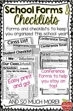 Get organized for the new school year! Huge pack of school forms and checklists. Everything you need to get you started off on the right foot! $